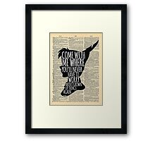 Peter Pan Vintage Dictionary Page Style -- Grown Up Things Framed Print