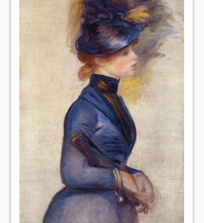 Renoir Auguste - Young Woman In Bright Blue At The Conservatory 1877 Sticker