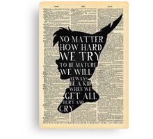 Peter Pan Vintage Dictionary Page Style -- No Matter Canvas Print