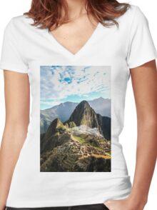 Machu Picchu Women's Fitted V-Neck T-Shirt
