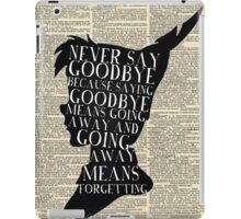 Peter Pan Vintage Dictionary Page Style -- Never Say iPad Case/Skin