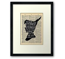 Peter Pan Vintage Dictionary Page Style -- Never Say Framed Print