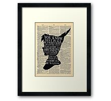 Peter Pan Vintage Dictionary Page Style -- That Place Framed Print