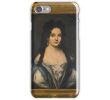 Attributed to Ferdinand Voet PORTRAIT OF A WOMAN WITH LONG BLACK HAIR AND PEARL TRIMMED DRESS, iPhone Case/Skin