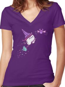 Ice Cream Wiccat Women's Fitted V-Neck T-Shirt