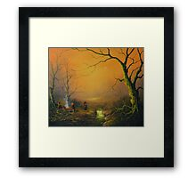 Three is good company (a fox watches on) Framed Print