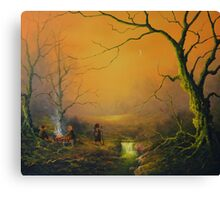Three is good company (a fox watches on) Canvas Print