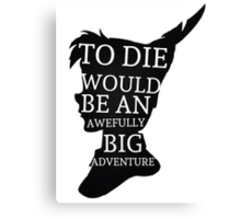 Peter Pan Quote Silhouette -- Big Adventure Canvas Print