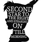 Peter Pan Quote Silhouette -- Second Star by The Pickled Pineapple