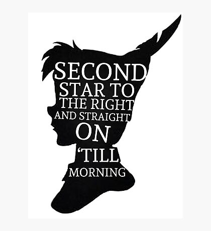 Peter Pan Quote Silhouette -- Second Star Photographic Print