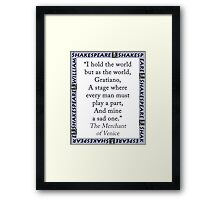 I Hold The World But As The World - Shakespeare Framed Print