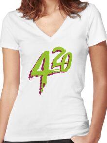 420 Women's Fitted V-Neck T-Shirt