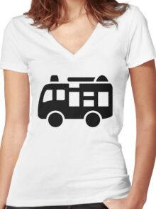 Fire Engine Truck Icon Women's Fitted V-Neck T-Shirt