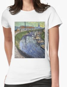 Vincent Van Gogh -  Roubine Du Roi Canal With Washerwomen, 1888 Womens Fitted T-Shirt