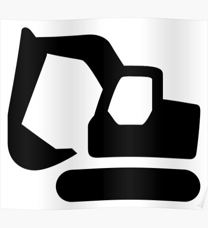 Excavator Digger Icon Poster
