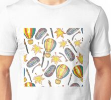 Hand drawn school seamless pattern with autumn leaves,balloons, paints and brushes. Unisex T-Shirt