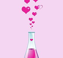 Chemistry Flask, Laboratory Glassware, Pink Hearts  by sitnica