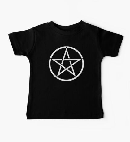 Pentacle, Witch, Modern Pagan, WICCA, Witchcraft, religion, White on Black Baby Tee