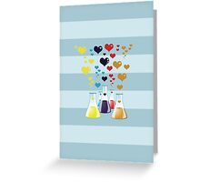Chemistry Flask, Hearts - Red Blue Yellow Purple Greeting Card
