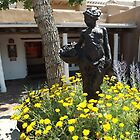 Sculpture Garden and Flowers, Canyon Road, Santa Fe, New Mexico by lenspiro