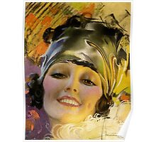 FLAPPER; Vintage Art Deco Beautiful Print Poster