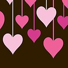 Hanging Hearts - Brown Pink (Fuchsia) by sitnica