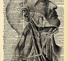 Vintage Dictionary Page Face and Neck  Side Profile by Alyssa Clark