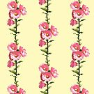Pink Hollyhocks on Yellow Dotted Background, Pastel Art by Joyce Geleynse