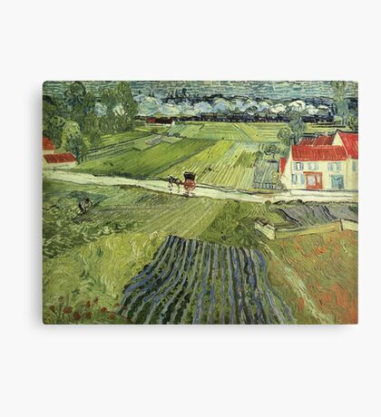 Vincent Van Gogh - Landscape With Carriage And Train 1890 Canvas Print