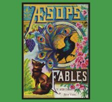 AESOPS FABLES; Vintage Fairy Tale Adverising Print One Piece - Short Sleeve