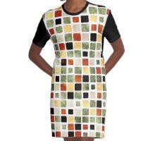 Grunge Pattern Watercolor Tiles Graphic T-Shirt Dress