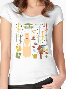 woodland forest Women's Fitted Scoop T-Shirt
