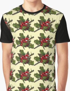 Christmas Holly, Berries, Pine Cones, Holiday Art Graphic T-Shirt