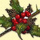 Christmas Holly, Berries, Pine Cones, Holiday Art by Joyce Geleynse