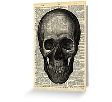 Vintage Dictionary Page Anatomy  Skull Profile Greeting Card