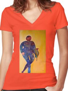 Abstract figure in color Women's Fitted V-Neck T-Shirt