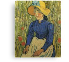 Vincent Van Gogh - Peasant Girl With Yellow Straw Hat, 1890 Canvas Print