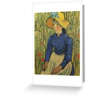 Vincent Van Gogh - Peasant Girl With Yellow Straw Hat, 1890 Greeting Card