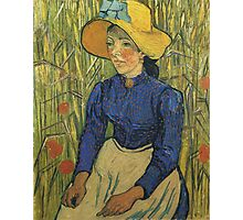 Vincent Van Gogh - Peasant Girl With Yellow Straw Hat, 1890 Photographic Print