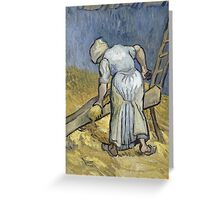 Vincent Van Gogh - Peasant Woman Bruising Flax (After Millet) 1889 Greeting Card