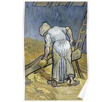 Vincent Van Gogh - Peasant Woman Bruising Flax (After Millet) 1889 Poster