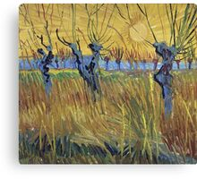 Vincent Van Gogh - Pollarded Willows And Setting Sun 1888 Canvas Print