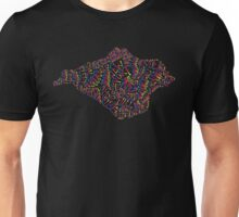 Isle of Wight text map in rainbow colours Unisex T-Shirt