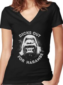 Dicks out for Harambe Women's Fitted V-Neck T-Shirt