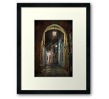 Spanish village street at Night. Cordoba Framed Print