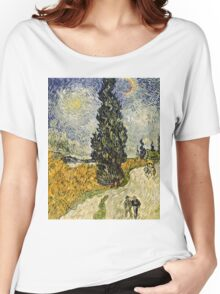 Vincent Van Gogh - Road With Cypresses 1890  Women's Relaxed Fit T-Shirt