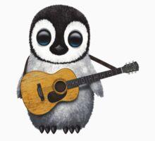 Musical Baby Penguin Playing Guitar White Kids Tee