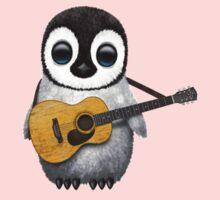 Musical Baby Penguin Playing Guitar Pink Baby Tee