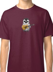 Musical Baby Penguin Playing Guitar Pink Classic T-Shirt