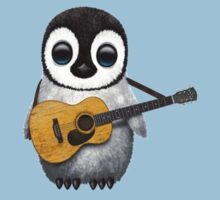 Musical Baby Penguin Playing Guitar Red Baby Tee